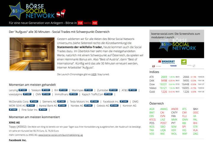 http://www.boerse-social.com am 8.1.2014: Gestern addierten wir für alle Aktien des Börse Social Network-Universums (siehe Seitenteil rechts die Kürzelsammlung) die Statements der wikifolio-Trader, heute kommen auch die Social Trades dazu. Im Überblick hier sieht man die meistgehandelten Werte, natürlich mit einem Schwerpunkt auf Österreich, da spielen wir einen Heimmarkt-Bonus ein. Also Best of Austria, dann Best of International. Künftig wird das alle 30 Minuten erneuert werden, interner Arbeitstitel Aufguss.