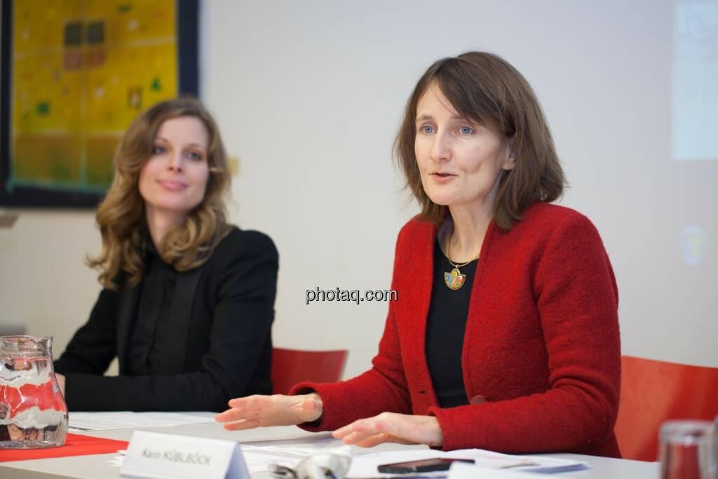 Miriam Broucek (FMA), Karin Küblböck (Attac), © finanzmarktfoto.at/Michaela Mejta (08.01.2014)