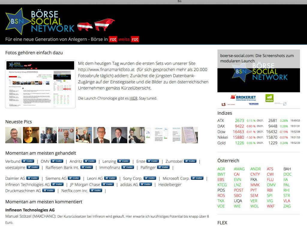 http://www.boerse-social.com am 9.1.2014: Mit dem heutigen Tag wurden die ersten Sets von unserer Site http://www.finanzmarktfoto.at (für sich gesprochen mehr als 20.000 Fotoabrufe täglich) addiert: Zunächst die jüngsten Datenbank-Zugänge auf der Einstiegsseite und die Bilder zu den österreichischen Unternehmen gemäss Kürzelübersicht. (09.01.2014)