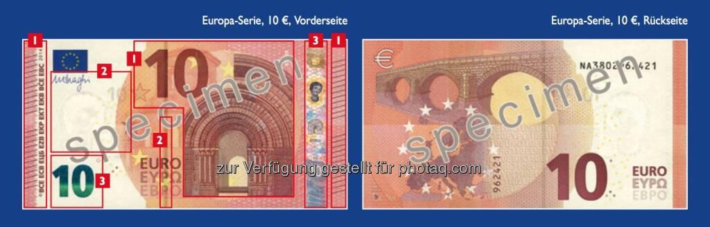 Die neue 10 Euro Note - Sicherheitsmerkmale (siehe auch http://www.oenb.at/Presse/OeNB-praesentiert-neue-10-Euro-Banknote.html) - (Bild: OeNB) (14.01.2014)