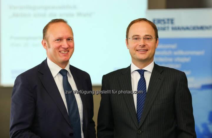 Erste Sparinvest-Vorstandsvorsitzender Heinz Bednar (li,) und Veranlagungs-Chef Gerold Permoser haben Grund, für den Fondsabsatz 2014 optimistisch zu sein.