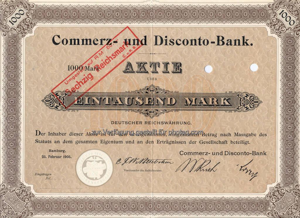 Aktie der Commerz- und Disconto-Bank über 1.000 Mark von 1905, © Commerzbank AG Homepage (Jänner 2014) (17.01.2014)