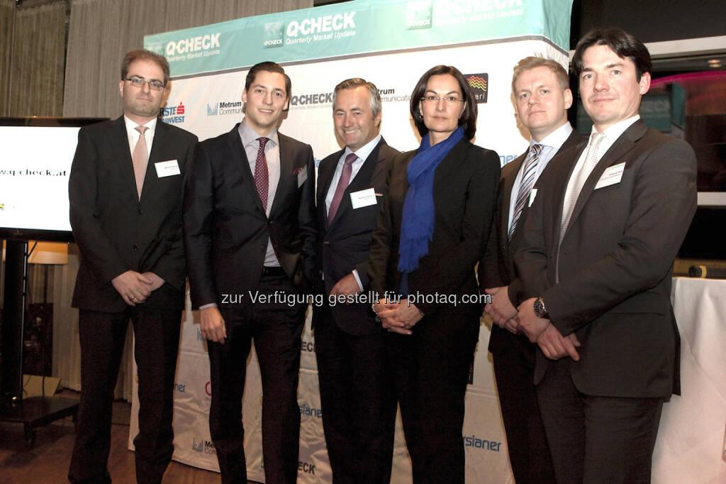 Michael Kukacka (Ringturm KAG), Dominik Hojas (DerBörsianer), Hannes Ametsreiter (Telekom Austria), Erika Karitnig (Bawag P.S.K. Invest), Jörg Rohmann (Alpari), Johannes Endl (ÖRAG): Am Expertenforum Q-Check, veranstaltet von DerBörsianer und Metrum Communications, herrschte am Mittwoch Optimismus für das Börsejahr 2014. An den bisher von der hohen Liquidität getriebenen Aktienmärkten rückt 2014 die Realität und damit die fundamentale Entwicklung der Unternehmen verstärkt in den Mittelpunkt. Die weltweite Konjunkturerholung sollte sich dabei positiv auf die Entwicklung der Unternehmensgewinne auswirken. Die Experten erwarten daher überwiegend ein gutes Aktienjahr 2014 (c) Q-Check (18.01.2014)