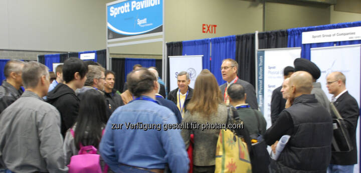 Rick Rule speaking to investors outside the Sprott Pavillion at the 2014 Vancouver Resource Investment Conference