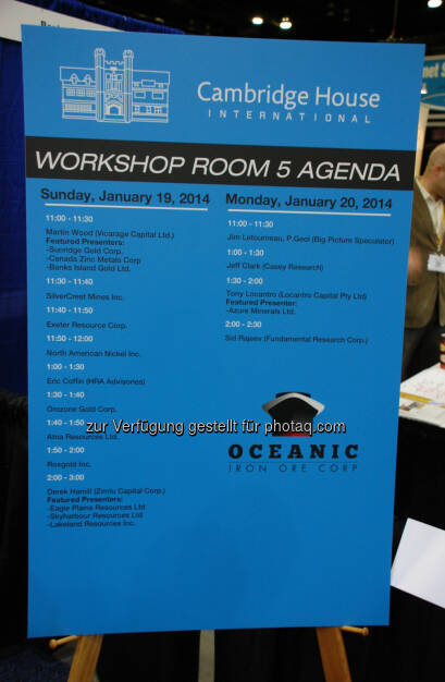 Workshop Room 5 Agenda: 2014 Vancouver Resource Investment Conference, © Zimtu Capital Corp. (20.01.2014)