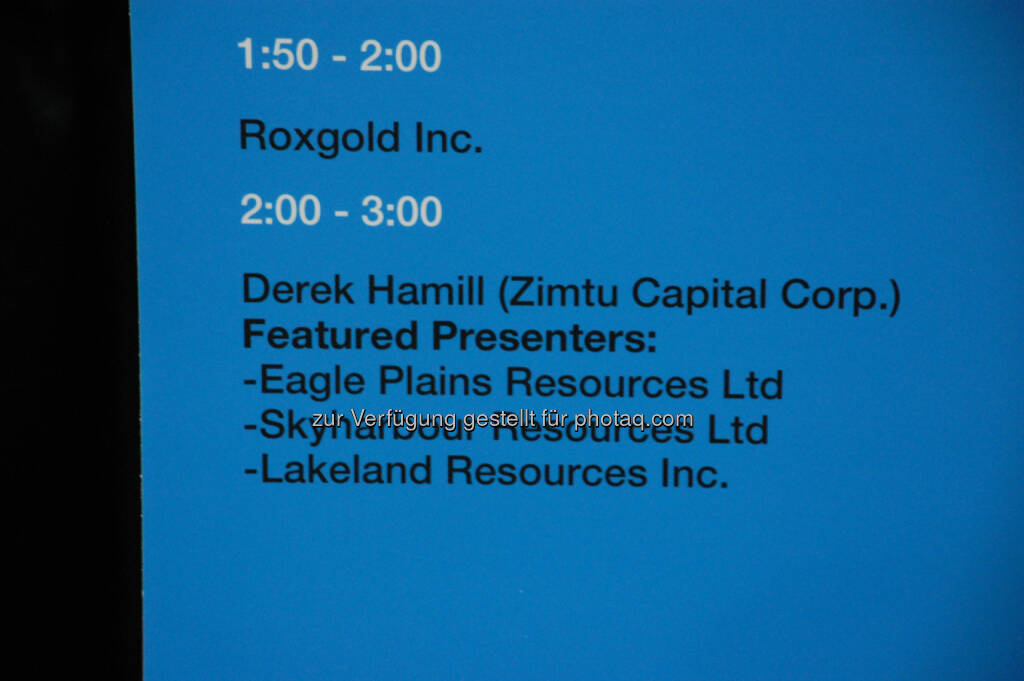 Workshop Room 5: Afternoon Schedule at the 2014 Vancouver Resource Investment Conference, © Zimtu Capital Corp. (20.01.2014)