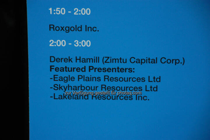 Workshop Room 5: Afternoon Schedule at the 2014 Vancouver Resource Investment Conference