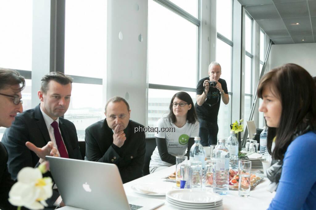 Josef Chladek, Gerhard Kürner (voestalpine), Paul Rettenbacher (THI), Susanne Trhal (Team sisu), Christian Drastil, Stephanie Bauer (voestalpine), © finanzmarktfoto.at/Martina Draper (24.01.2014)