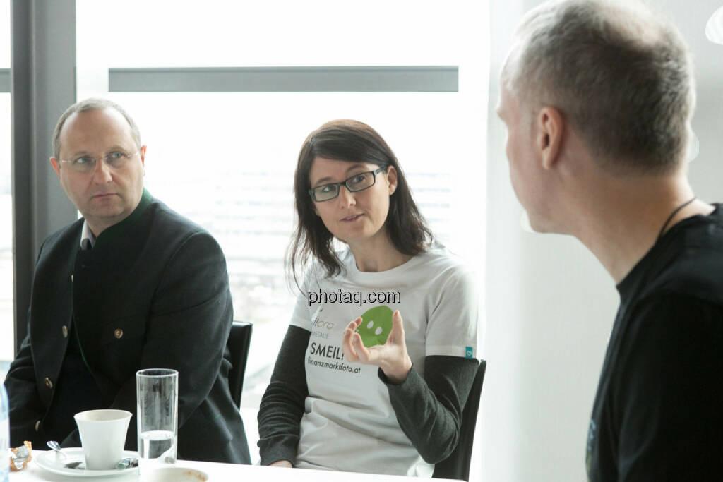 Paul Rettenbacher (THI), Susanne Trhal (Team sisu), Christian Drastil, © finanzmarktfoto.at/Martina Draper (24.01.2014)