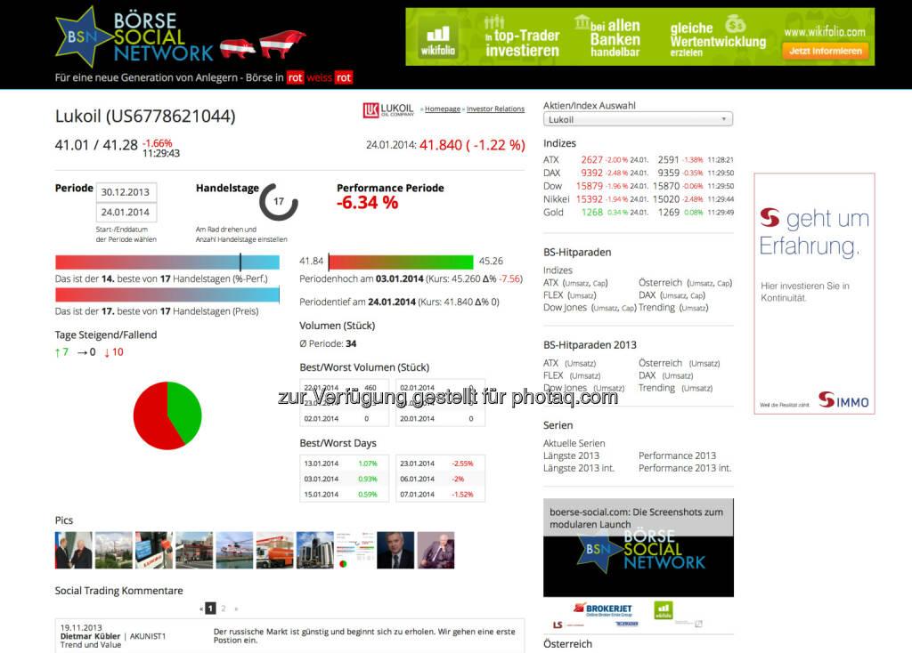 Die Lukoil-Sicht im Börse Social Network http://boerse-social.com/launch/aktie/lukoil bzw. die Bildersicht unter http://finanzmarktfoto.at/page/index/948, © Tripenta / Peinhaupt (27.01.2014)