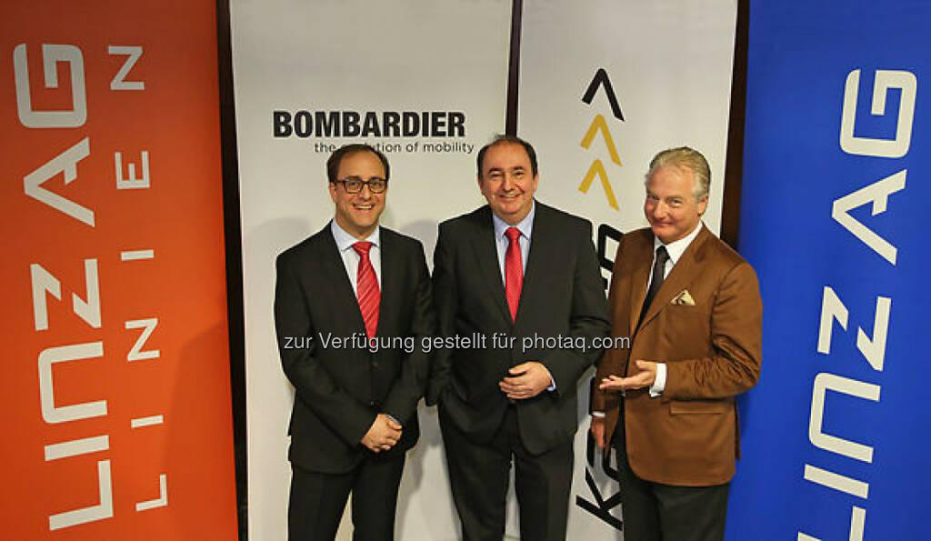 Germar Wacker (Bombardier), Erich Haider (Linz AG), Kari Kapsch (Kapsch CarrierCom) , © Kapsch AG/APA-Fotoservice/Hartl (27.01.2014)
