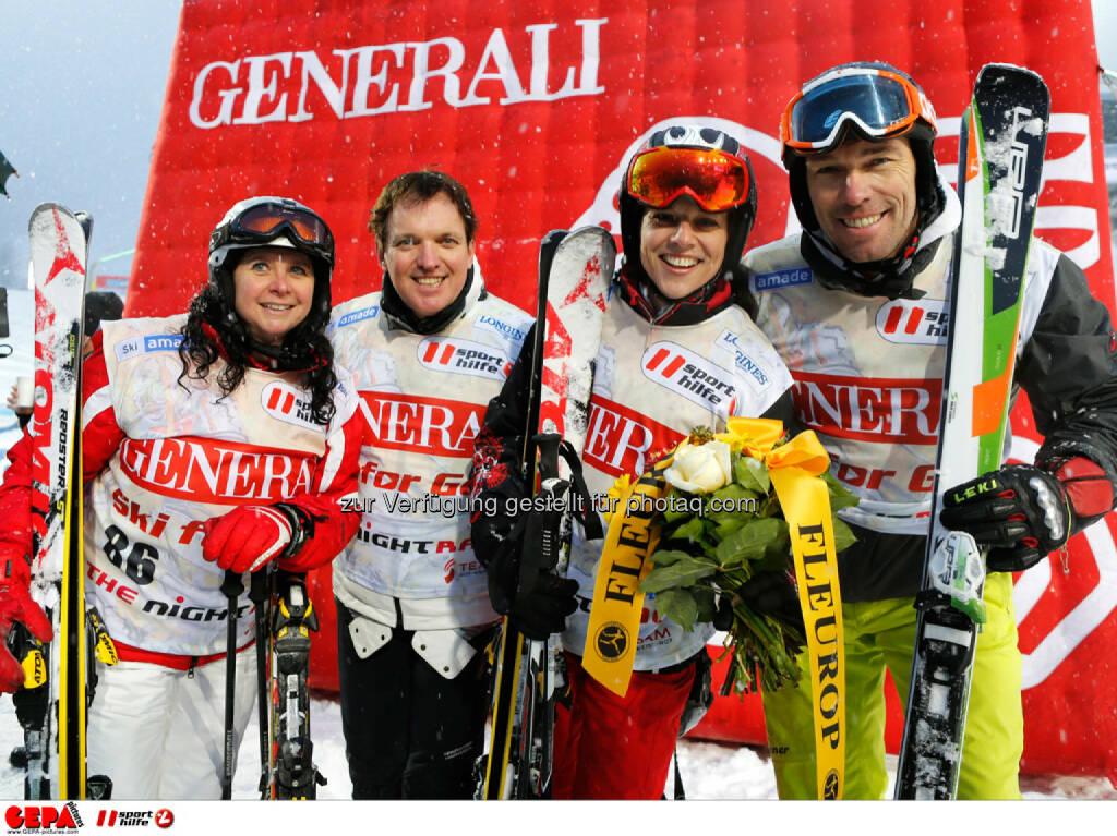 Sporthilfe Charity Race. Bild zeigt Daniela Christandl, Harald Christandl, Vera Russwurm und Herbert Albrecht. Foto: GEPA pictures/ Wolfgang Grebien, © GEPA/Sporthilfe (27.01.2014)
