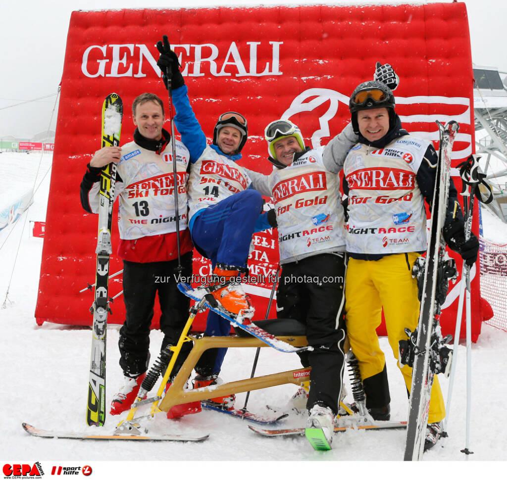 Sporthilfe Charity Race. Bild zeigt Wolfgang Knaller, Roland Koenigshofer, Franz Stocher und Walter Kroneisl (Team Ski for Gold). Foto: GEPA pictures/ Wolfgang Grebien, © GEPA/Sporthilfe (27.01.2014)