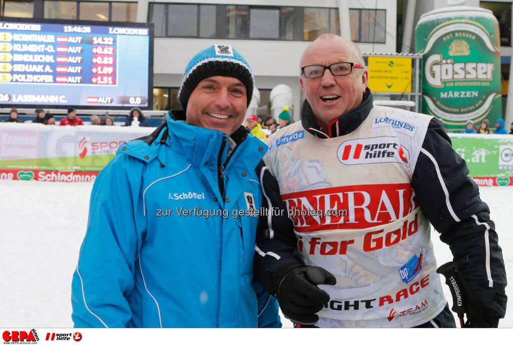 Sporthilfe Charity Race. Bild zeigt Verteidigungs- und Sportminister Gerald Klug und David Zwilling. Foto: GEPA pictures/ Wolfgang Grebien, © GEPA/Sporthilfe (27.01.2014)