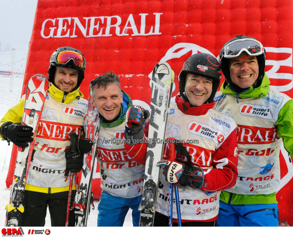 Sporthilfe Charity Race. Bild zeigt Christian Fellner, Martin Klade, Andy Lee Lang und Peter Stark (Team Fleurop III). Foto: GEPA pictures/ Wolfgang Grebien, © GEPA/Sporthilfe (27.01.2014)