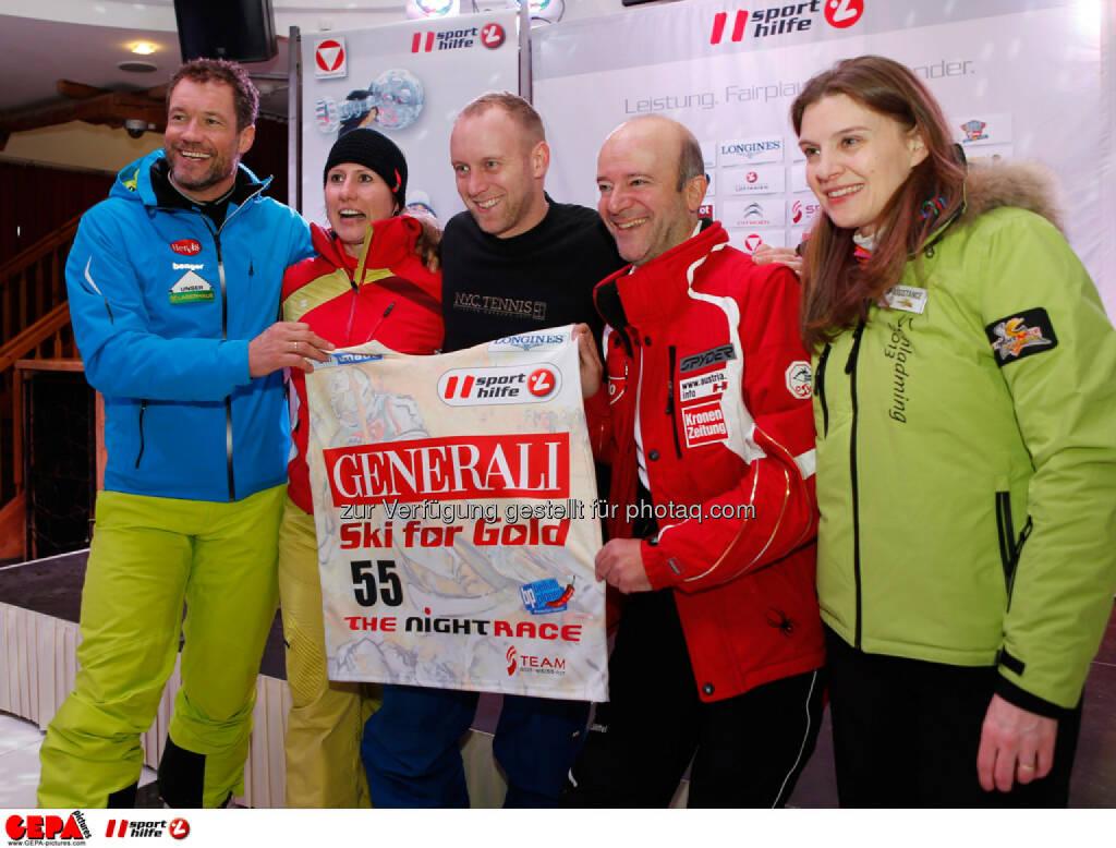 Sporthilfe Charity Race. Bild zeigt Armin Assinger, Brigitte Kliment-Obermoser, Stefan Koubek und Andy Lee Lang. Foto: GEPA pictures/ Wolfgang Grebien, © GEPA/Sporthilfe (27.01.2014)