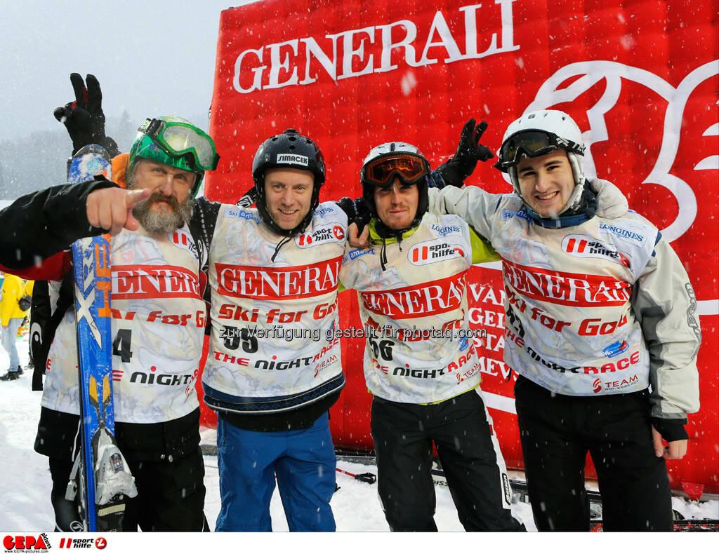 Sporthilfe Charity Race. Bild zeigt Sepp Resnik, Stefan Koubek, Stefan Rabitsch und Daniel Gollmann (Team Konica Minolta). Foto: GEPA pictures/ Wolfgang Grebien, © GEPA/Sporthilfe (27.01.2014)