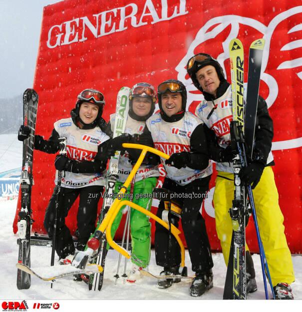 Sporthilfe Charity Race. Bild zeigt Eva Pfneils, Andreas Pfeiler, Andreas Kacsitz und Gerhard Pfneils (Team Pfneils Wein). Foto: GEPA pictures/ Wolfgang Grebien, © GEPA/Sporthilfe (27.01.2014)