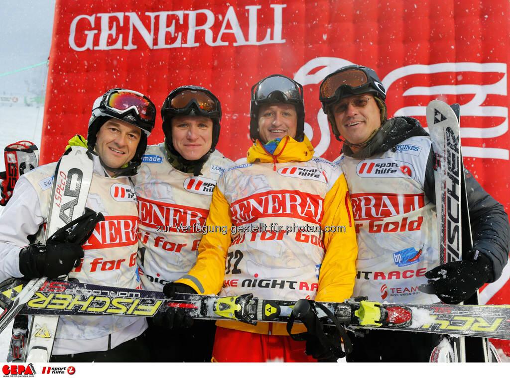 Sporthilfe Charity Race. Bild zeigt Peter Uhl, Manfred Neuretier, Mario Schaeffer und Thomas Uhl (Team Nightrace Friends). Foto: GEPA pictures/ Wolfgang Grebien, © GEPA/Sporthilfe (27.01.2014)