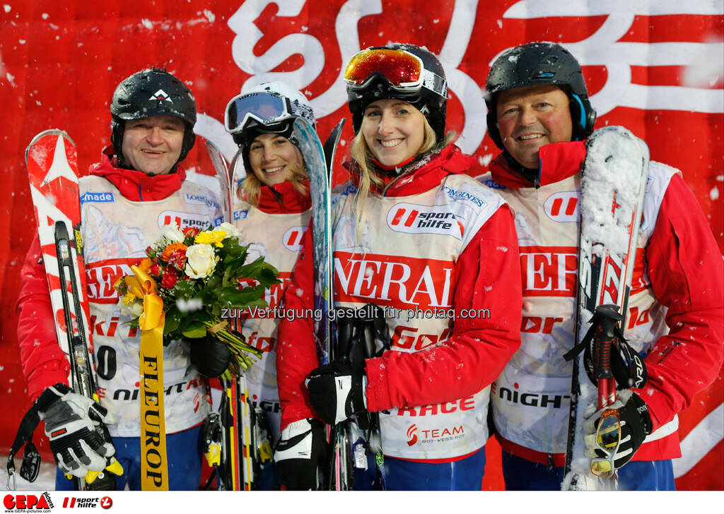 Sporthilfe Charity Race. Bild zeigt Christoph Baumann, Simone Gruber-Hofer, Marietta Weissofner und Wolfgang Hettegger (Team Ski amade). Foto: GEPA pictures/ Wolfgang Grebien, © GEPA/Sporthilfe (27.01.2014)