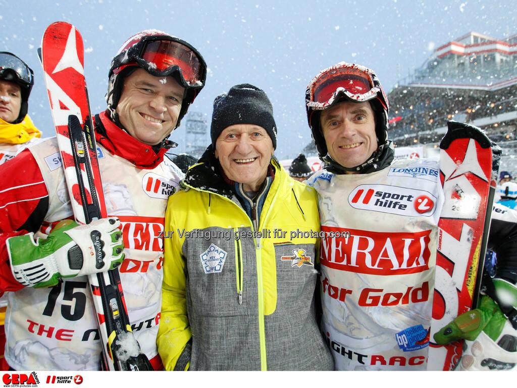 Sporthilfe Charity Race. Bild zeigt Rudolf Obauer, Charly Kahr und Karl Obauer. Foto: GEPA pictures/ Harald Steiner, © GEPA/Sporthilfe (27.01.2014)