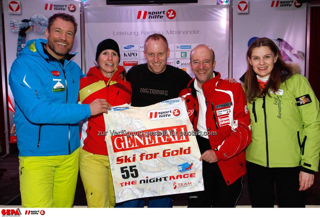 Sporthilfe Charity Race. Bild zeigt Armin Assinger, Brigitte Obermoser, Stefan Koubek und Andy Lee Lang. Foto: GEPA pictures/ Harald Steiner, © GEPA/Sporthilfe (27.01.2014)