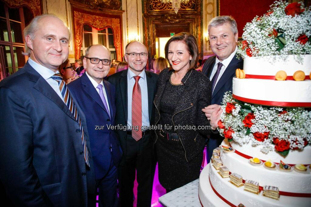 Martin Sturzlbaum, CEO Europäische Reiseversicherung, Harald Nograsek, Generaldirektor Verkehrsbüro Group, Christoph Heissenberger, CEO Austria Allianz Global Assistance, Gabriele Hurt, U.S. Mission, Alfred Flammer, Geschäftsführer Palais Events GmbH, © © Palais Events (29.01.2014)