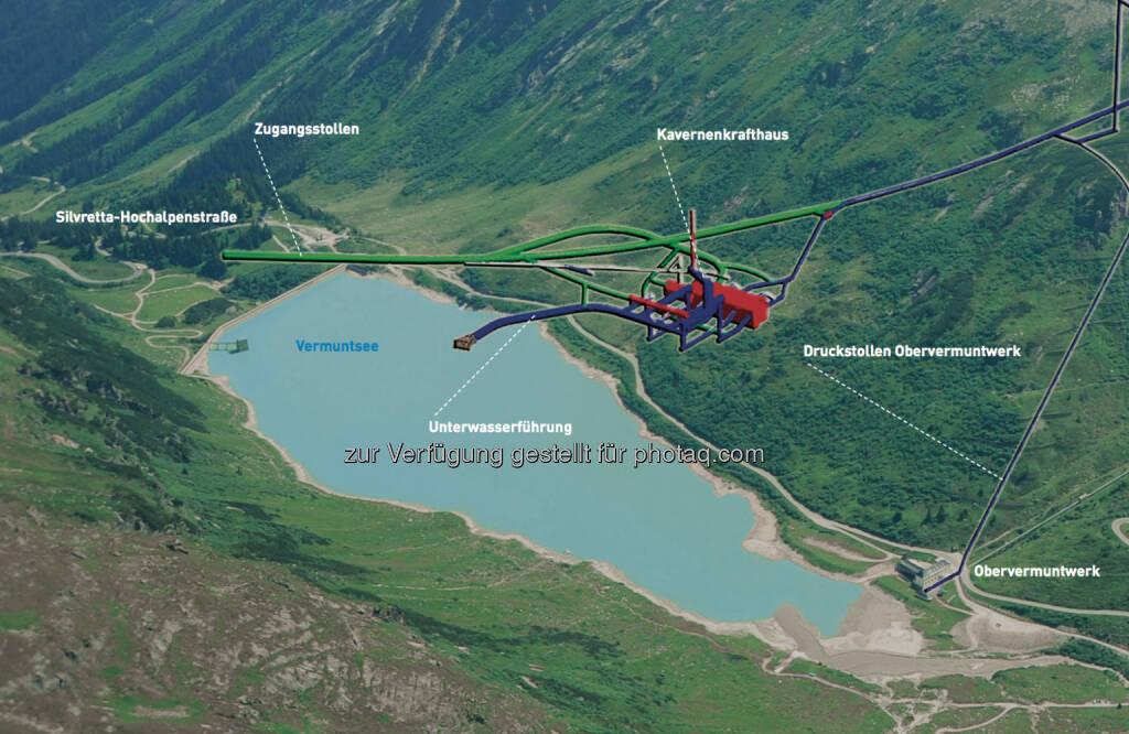 Porr baut: Das Pumpspeicherkraftwerk Obervermunt II wird mit einer Leistung von 360 MW im Turbinen- und Pumpbetrieb das zweitgrößte Kraftwerk der Vorarlberger Illwerke sein. Es entsteht unterirdisch im Montafon zwischen den Stauseen Silvretta und Vermunt und ist als Parallelkraftwerk zum bereits bestehenden Obervermuntwerk konzipiert., © Illwerke bzw. Porr (03.02.2014)