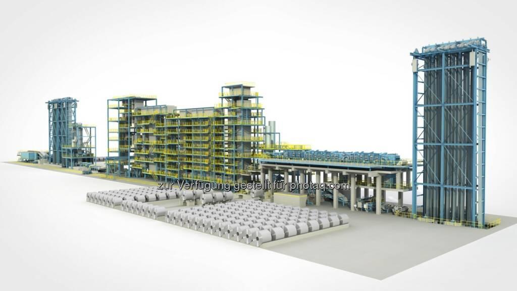 Die chinesische Pangang Group hat Siemens Metals Technologies damit beauftragt, für das Werk am Standort Chongqing eine neue kontinuierliche Verzinkungslinie zu liefern - Computeranimierte Darstellung  (Bild: Siemens AG) (03.02.2014)