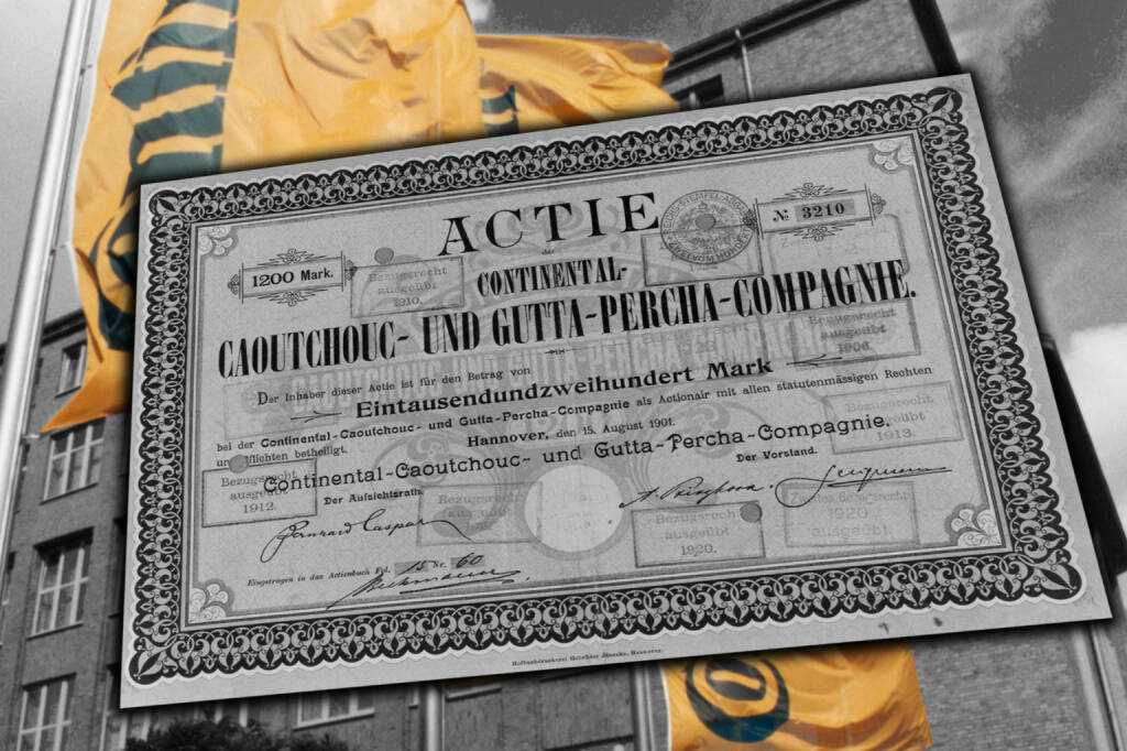 Historische Aktie der Caoutchouc- und Gutta-Percha Compagnie, © Continental AG (Homepage) (03.02.2014)