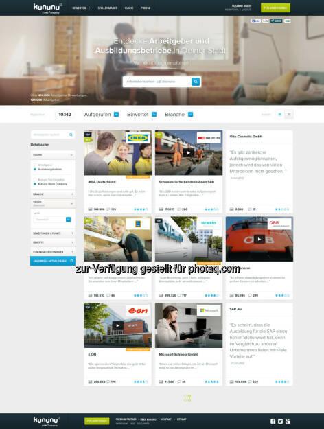 Relaunch von www.kununu.com: Größtes Arbeitgeber-Bewertungsportal mit neuem Design, © Aussendung (04.02.2014)