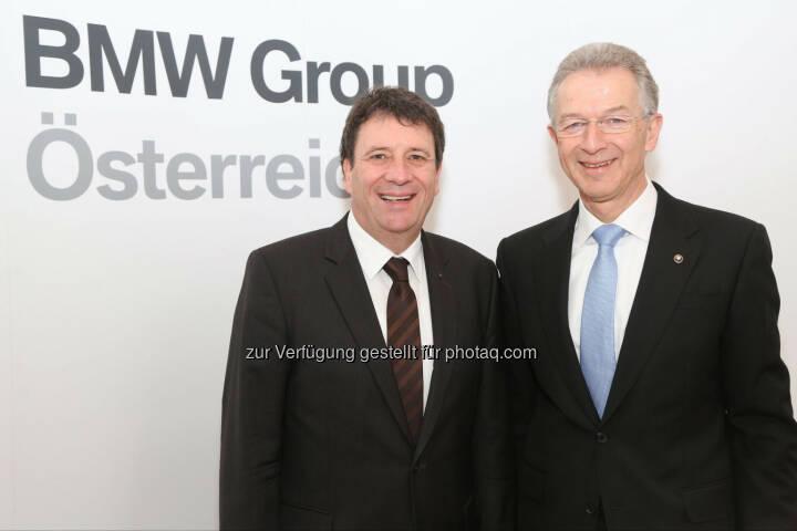 Kurt Egloff (Geschäftsführer BMW Austria GmbH), Gerhard Wölfel (Geschäftsführer BMW Motoren GmbH): BMW Group beendet das Jahr 2013 sehr erfolgreich, entlastet erneut die österreichische Handelsbilanz und investiert 2014 weiter in den Standort Österreich. Aufgrund neuer, innovativer Modelle blickt man sehr optimistisch ins Jahr 2014. Fotocredit: BMW Group Austria/APA-Fotoservice/Schedl