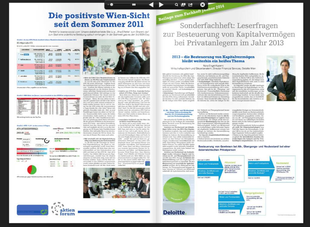 Fachheft 17, Seiten 2 und 3: Börse Wien-Roundup, BSN-Day Linz, Nora Engel (Deloitte) beantwortet Steuerfragen (05.02.2014)