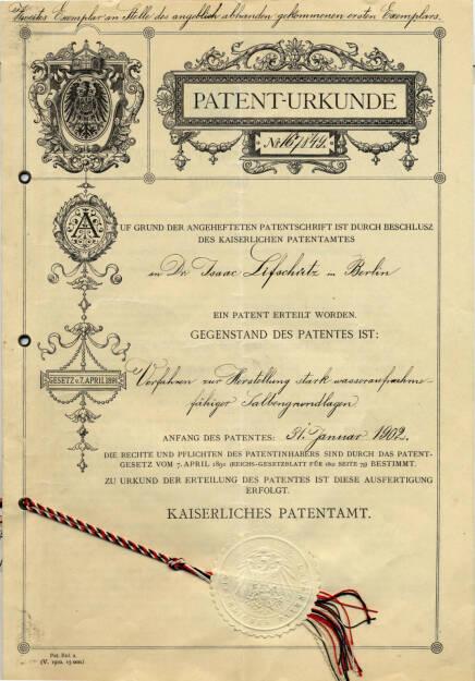 Patent Urkunde, Eucerin, © Beiersdorf AG (Homepage) (06.02.2014)