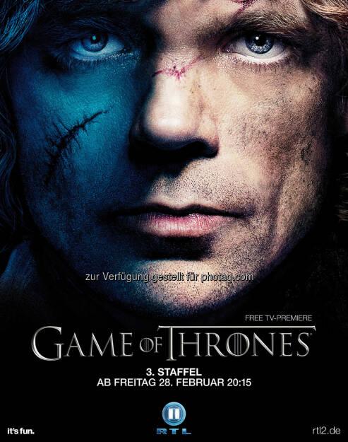 Peter Dinklage als Tyrion Lennister, Plakatmotiv zum Start der dritten Staffel von Game Of Thrones am Freitag, den 28. Februar 2014 um 20:15 Uhr bei RTL II, (C) HBO Enterpreises/RTL II, © Aussendung (06.02.2014)