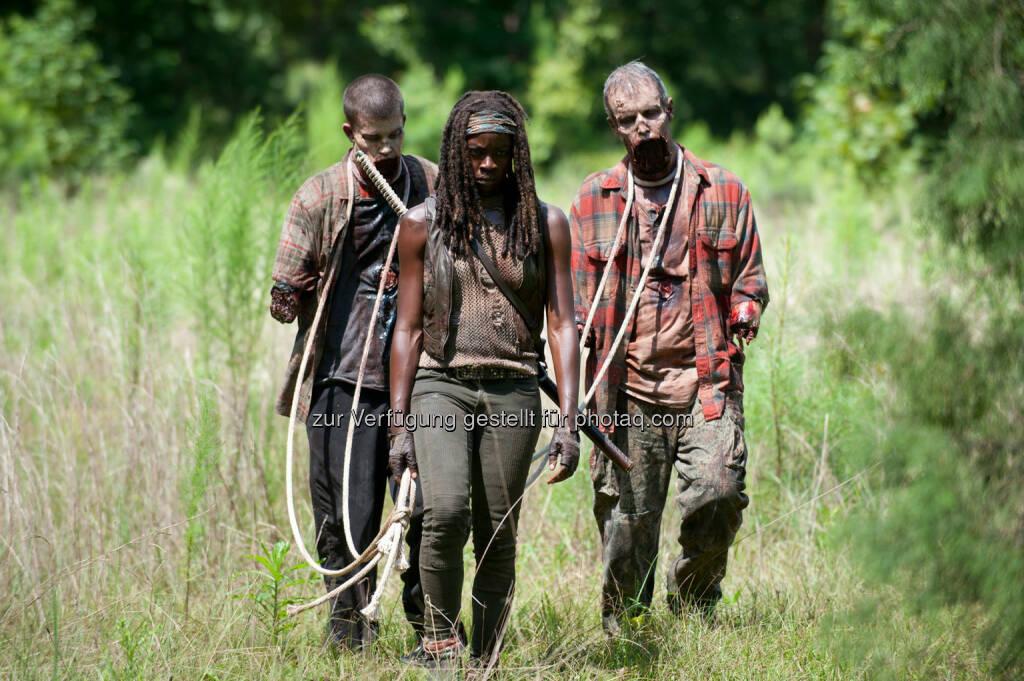 Walker und Michonne (Danai Gurira) in The Walking Dead, 4. Staffel, Episode 9. The Walking Dead auf Fox fährt Rekordquote ein: Erfolgreichste deutsche TV-Premiere einer Serie im Pay-TV., © Aussendung (11.02.2014)