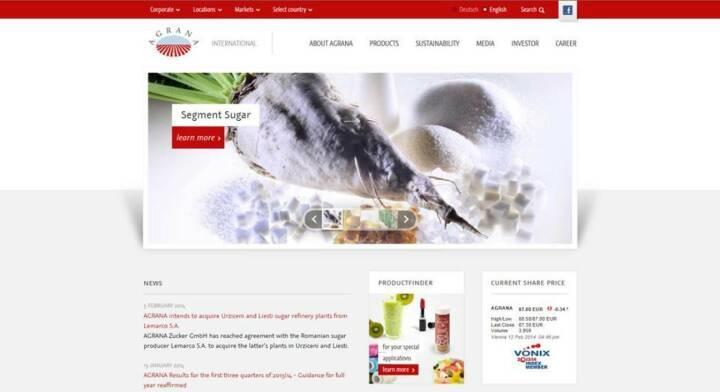Seit 12. Februar erscheint die Corporate Agrana-Website im neuen Design: http://www.agrana.com