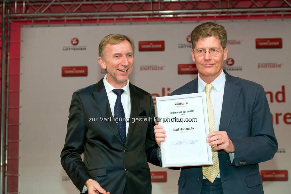 Johann Oberauer (Verleger und Herausgeber), Karl Hohenlohe (Kurier, ORF), © Der österreichische Journalist/APA-Fotoservice/Schedl (13.02.2014)