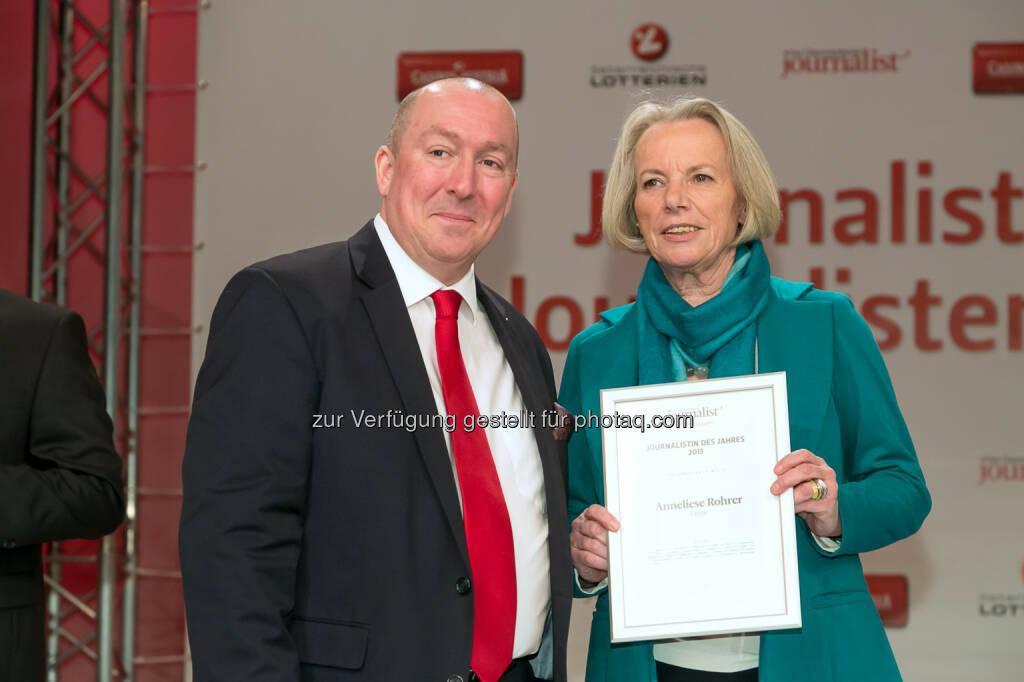 """Georg Taitl (""""Der Österreichische Journalist""""), Anneliese Rohrer (Presse), © Der österreichische Journalist/APA-Fotoservice/Schedl (13.02.2014)"""