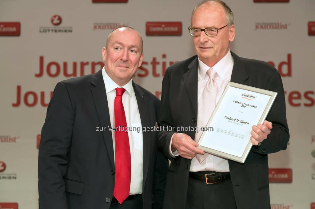 """Georg Taitl (""""Der Österreichische Journalist""""), Gerhard Treffkorn (Kleine Zeitung (i.R.)), © Der österreichische Journalist/APA-Fotoservice/Schedl (13.02.2014)"""