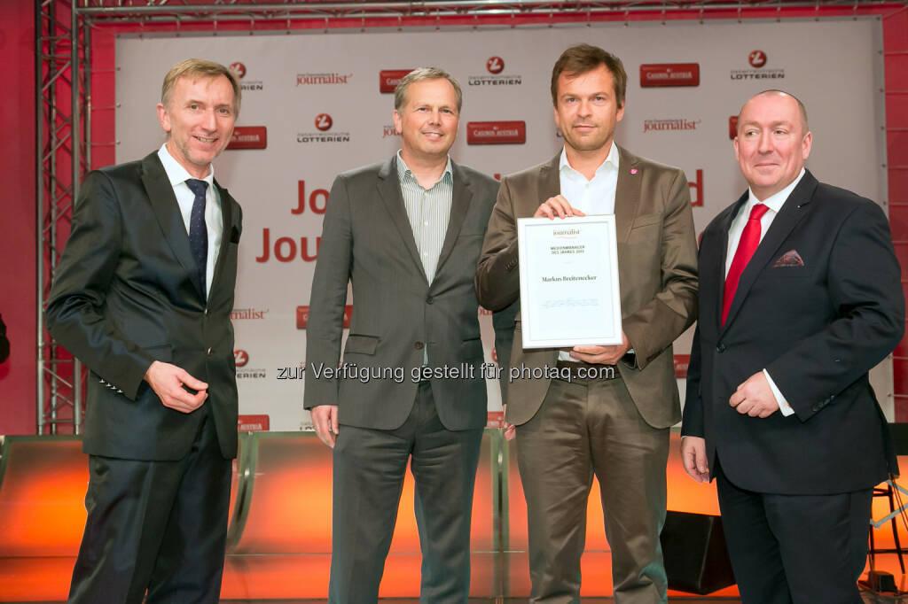 """Johann Oberauer (Verleger und Herausgeber), Horst Pirker (Medecco, Verlagsgruppe News), Markus Breitenecker (Puls 4), Georg Taitl (""""Der Österreichische Journalist""""), © Der österreichische Journalist/APA-Fotoservice/Schedl (13.02.2014)"""