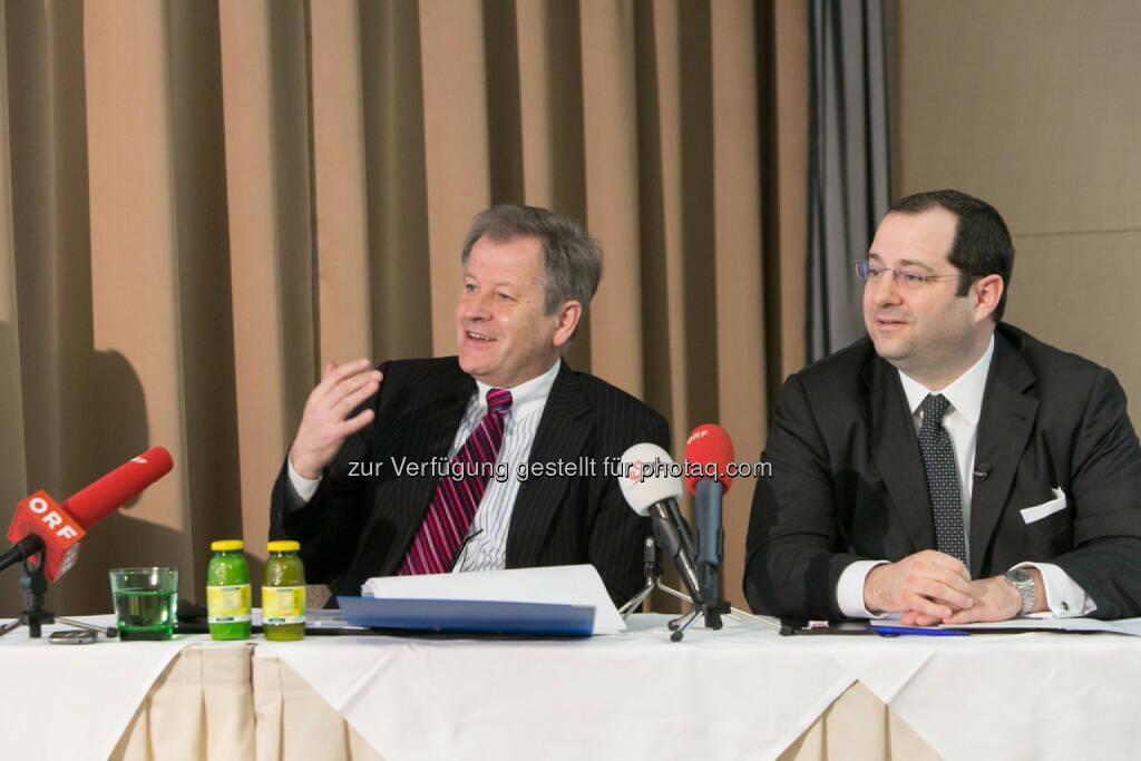Eduard Zehetner, CEO Immofinanz, Daniel Riedl, CEO Buwog, COO Immofinanz, © Martina Draper für Immofinanz (13.02.2014)