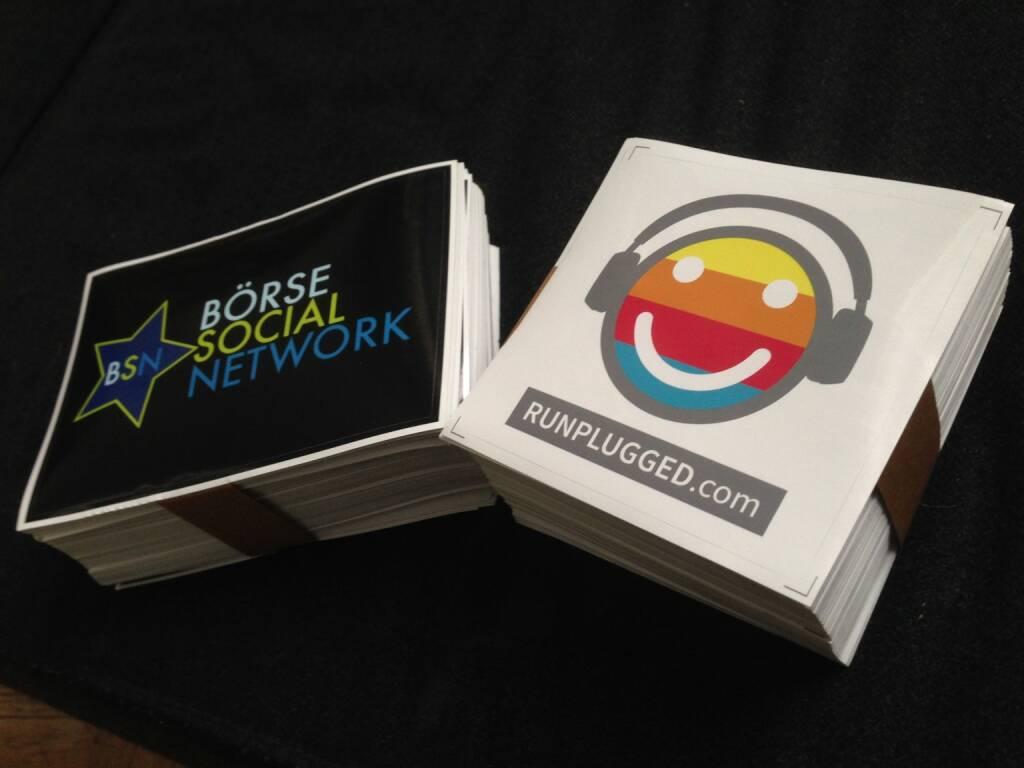 In eigener Sache: Die neuen Pickerl für http://www.boerse-social.com und http://www.runplugged.com sind eingelangt (18.02.2014)