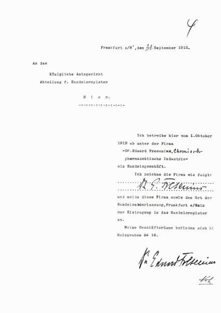 """Anmeldung zur Eintragung der """"Dr. Eduard Fresenius chemisch-pharmazeutische Industrie KG"""" in das Handelsregister der Stadt Frankfurt/Main zum 1. Oktober 1912, © Fresenius AG (Homepage) (21.02.2014)"""