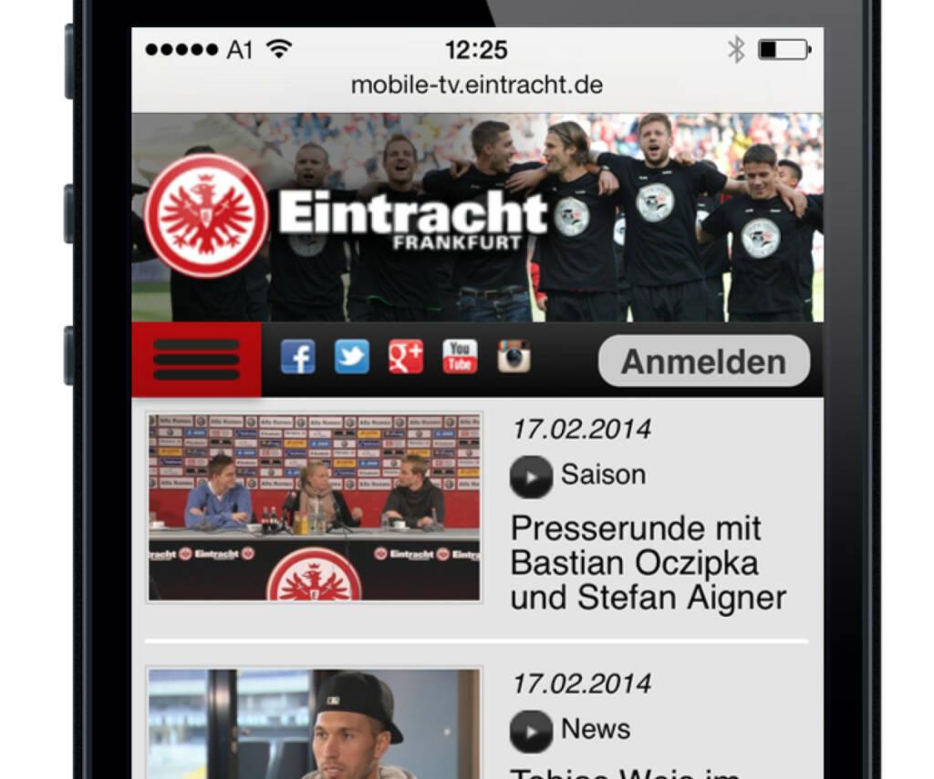 """Laola1.tv erweitert seine Kooperation mit Eintracht Frankfurt: Das Multimedia-Unternehmen ist für die Erstellung der mobilen Website von """"EintrachtTV"""" verantwortlich. Bereits seit Oktober letzten Jahres verantwortet Laola1.tv den Betrieb der neuen offiziellen Club-TV-Präsenz des Bundesligisten (24.02.2014)"""
