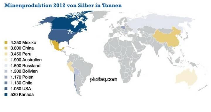 Minenproduktion 2012 von Silber in Tonnen