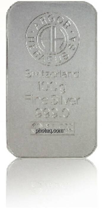Silberbarren - Hersteller: Argor Heraeus Herkunftsland: Schweiz Feingewicht: 100g Feinheit: 999