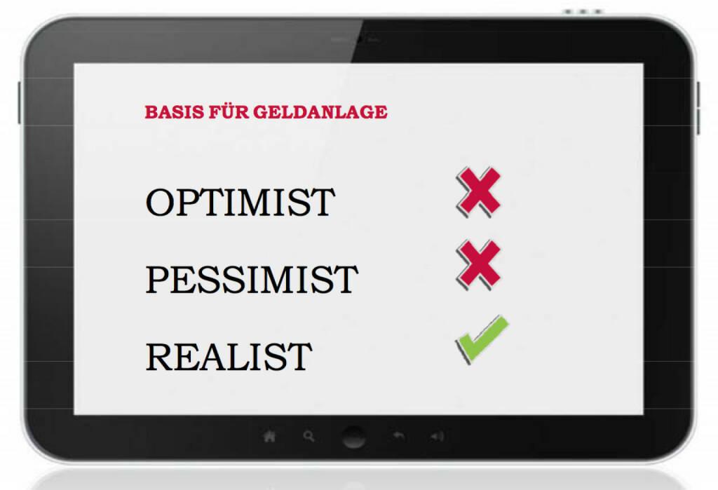 Optimist, Pessimist, Realist (c) 3Banken Generali KAG (05.03.2014)