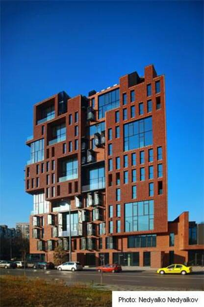 Wienerberger : Interesting building with perforated external brick envelope in Bulgaria - Nomination for Brick Award 2014, by Aedes studio architects. See http://www.brickaward.com/red-apple/ (07.03.2014)