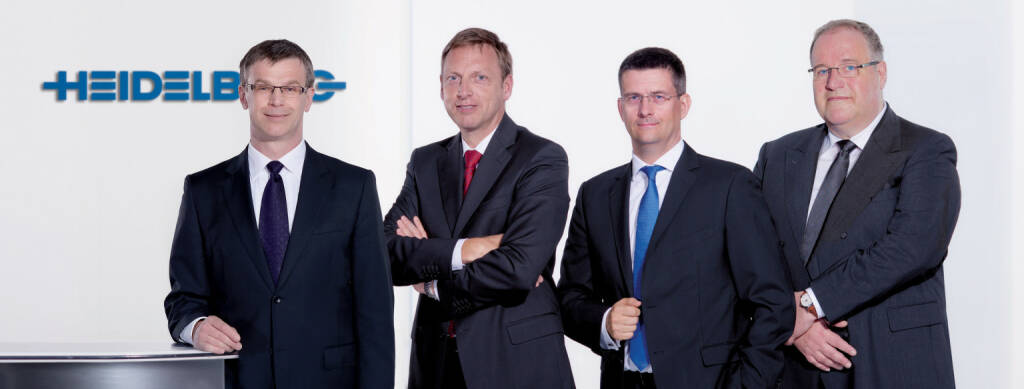 Stephan Plenz, Marcel Kiessling, Dirk Kaliebe, Gerold Linzbach: Vorstand der Heidelberger Druckmaschinen AG, © Heidelberger Druckmaschinen AG (Homepage) (12.03.2014)
